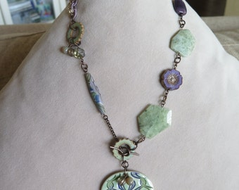 mint and lavender necklace, celadon and lavender necklace, asymmetrical necklace, unique necklace, artisan necklace, green & purple necklace