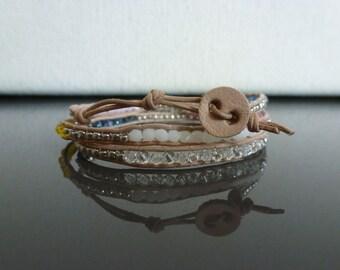 Crystal Leather Wrap Bracelet - Calypso Colorway