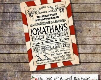 Circus invitation birthday party invite circus vintage carnival digital printable invitation you print invite 13285