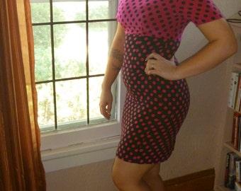 80s Dress Pink and Black Polka Dot