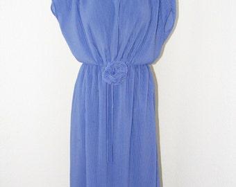 Vtg 1970s Beautiful Periwinkle Pleated dress w/ low V-neck back by Joy Stevens