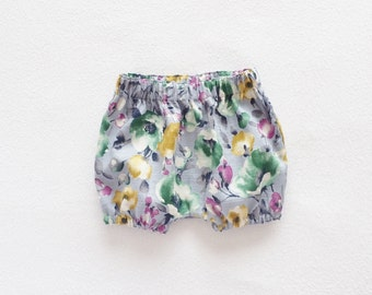 Girl Toddler Floral Bloomers, Blue Grey, Girls Bloomers, Toddler Bloomers, Bubble Shorts, Newborn - 3T