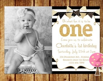 Gold and Black First Birthday Party Invitation with Photo, Gold Glitter Birthday Invitation, One, Black Stripes, First Birthday