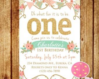 Shabby Chic First Birthday Party Invitation, Gold Glitter Birthday Invitation, Peach and Mint, One, First Birthday