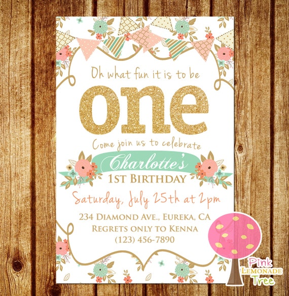 First Birthday Party In A Box In Gold Mint And Pink: Shabby Chic First Birthday Party Invitation, Gold Glitter