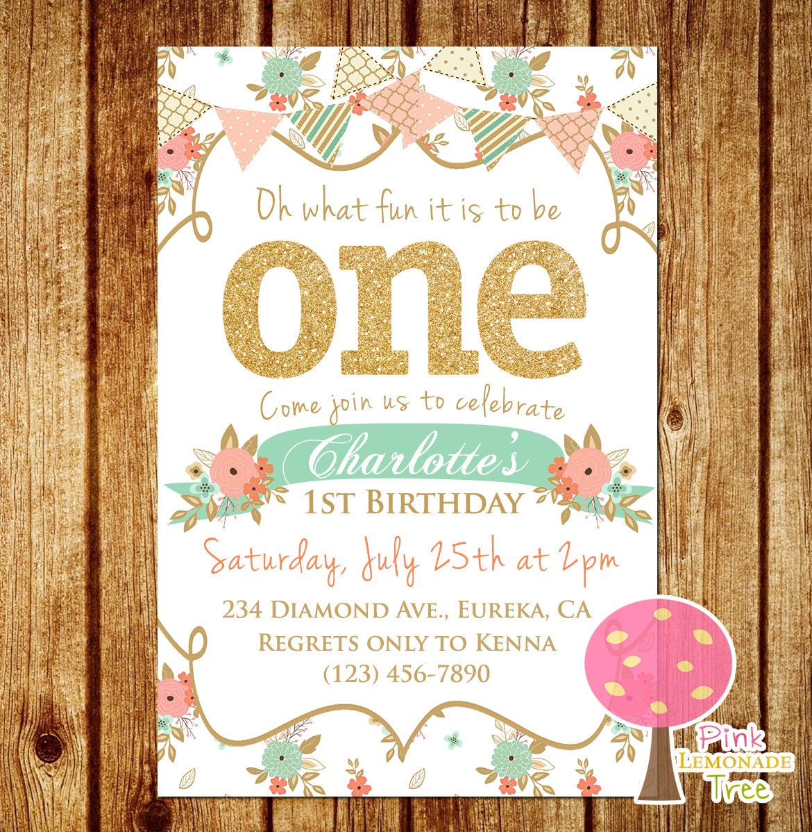 Personalised New Baby Or Birthday Card By Mint Nifty: Shabby Chic First Birthday Party Invitation Gold Glitter