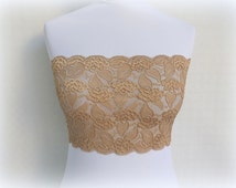 Gold Elastic Lace Bandeau Top. Floral lace lingerie. Sheer bra. Lace strapless. Gold lingerie.