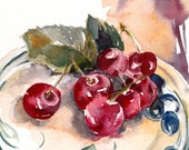 Still Life with Cherries Original Watercolor Painting, Watercolour Art