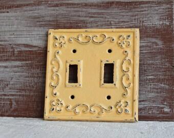 Light Switch Cover, Yellow Light Switch Plate, Lightswitch Cover, Metal Double Switch Plate Cover, Cast Iron Switchplate, Yellow wall decor