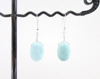 Amazonite earrings, pale blue gemstone, semi precious gemstone dangle earrings, sterling silver earrings, lightweight, handmade in the UK