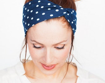 Navy Polka Dot Headband - Navy Headband Black Turban Yoga Headband Workout Fitness Running Christmas Dark Blue Pinup Headband