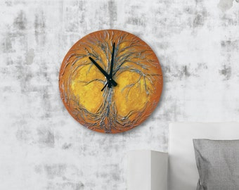 Tree of Life Home Decor, Tree of Life Original Painting Large Wall Clock, Orange wall Clock,  Modern WALL CLOCK, Unique wall clock