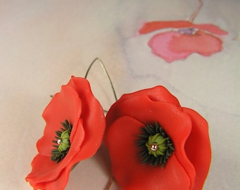 Poppy earrings, red poppy flower, red poppies, polymer clay jewelry, floral dangle earrings, floral jewelry, red floral earrings