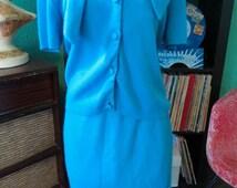 SALE Two Piece 40's/ 50's Vintage Teal Blue Blouse and Pencil Skirt Set Ensemble 100% Orlon Acrylic Knit