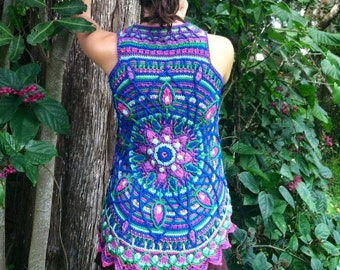 Custom intricate lotus mandala vest shrug