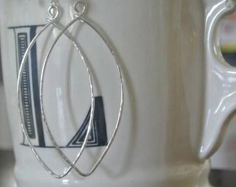 Hammered Leaf Silver Hoops