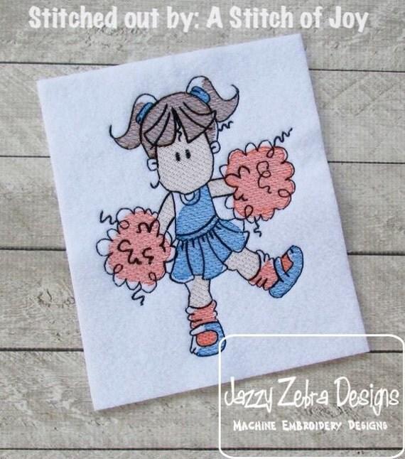 Cheerleader Sketch Embroidery Design - cheer Sketch Embroidery Design - cheerleading Sketch Embroidery Design - football Sketch Embroidery