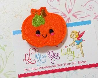 Felt Hair Clippie-Silly Pumpkin Hair Clip-Pumpkin Hair Clippie- Halloween Hair Clippies- Feltie Barrette (Set of 1)