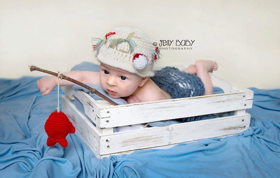 Newborn fisherman set baby fisherman prop outfit crochet for Baby fishing outfit
