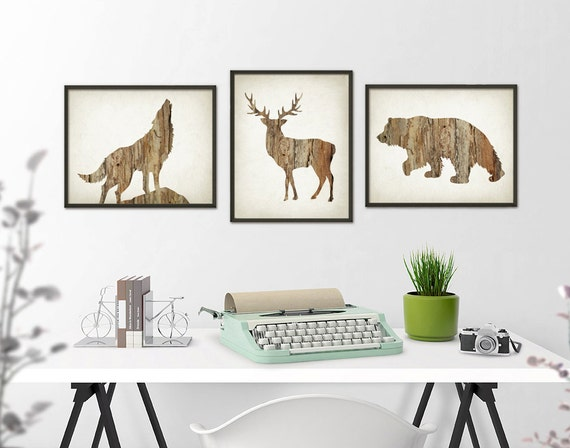 deer wolf bear wall art print set of 3 wood hunting lodge. Black Bedroom Furniture Sets. Home Design Ideas