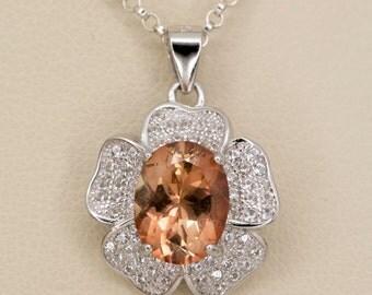 Peach Sunstone Sterling Silver Pendant 1.6ct (S2428P)