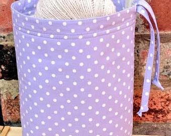 DRAWSTRING Knitting Bag Crochet Project Bag SHABBY PURPLE  Polka Lilac Storage Organizer Basket Nursery Craft Yarn Wool Holder Handmade Gift