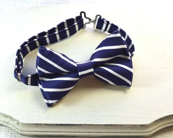 B109 Navy and White Stripe Bow tie For baby/Toddler/Teen/Adult/with Adjust strap