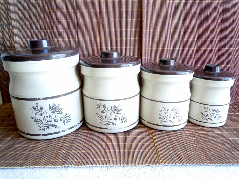 vintage kromex canister set retro kitchen canisters beige