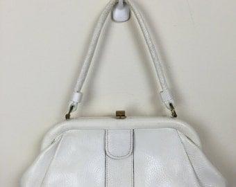 white pebbled leather satchel handbag Letisse 60's
