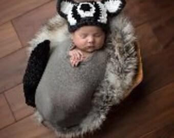 Raccoon Newborn photo prop