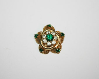Vintage Green Rhinestone Brooch / Pin 1.2 inches | Ships FREE in US