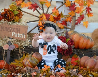 BOO First Halloween Set - Baby Girl Outfit - Halloween Shirt Or Bodysuit - Embroidered Ghost Outfit - OTT Bow - Headband - Leg Warmers
