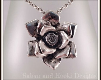 Silver Rose Pendant. Silver Flower Jewellery. Floral Jewelry. Large Rose Necklace. Gift For Her. Girlfriend Gift Under 10. Birthday Present.