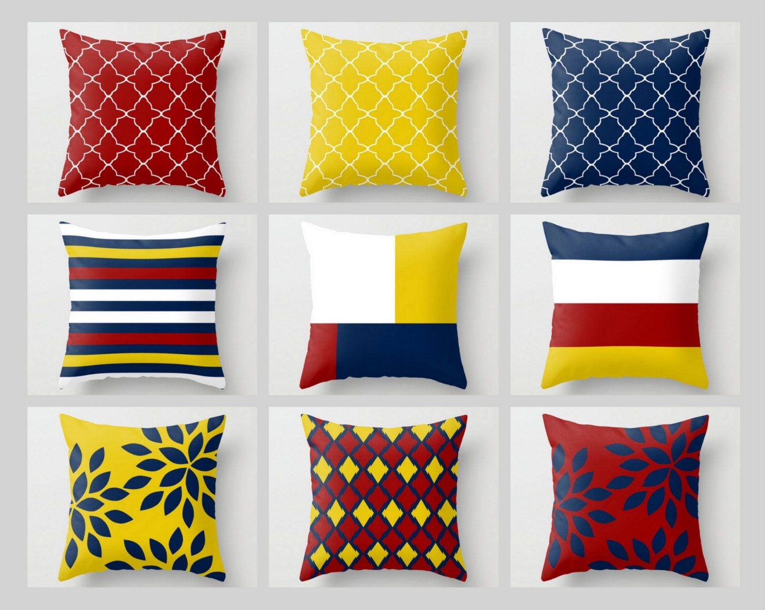 Throw Pillow Covers Navy Mustard Yellow Crimson White Primary