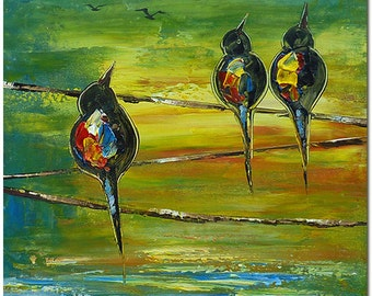 Bird Silhouette Oil Painting -  Hand Painted Abstract Love Birds  On Canvas