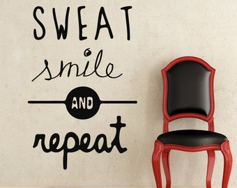 Wall Decals Quote Sweat Smile And Repeat Decal Vinyl Sticker Bedroom Interior Design Home Living Decor Art Murals EG107