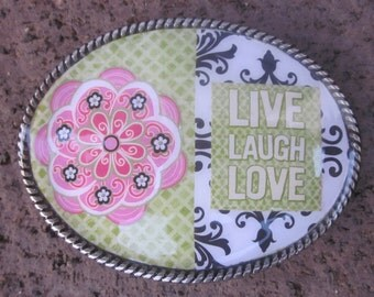 belt buckles bohemian belt buckles Live love laugh boho chic belt black white pink & green flowers bohemian silver oval resin belt buckle