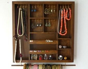 Jewelry organizer - rustic decor - wood organizer - earring holder - necklace holder - handmade in Greece