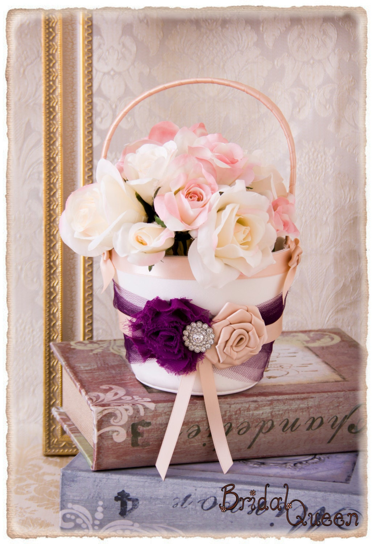 Flower Girl Basket Blush : Plum flower girl basket and blush
