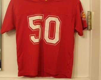 Vintage Red T Shirt Jersey Number 50 Size X-Small or Small