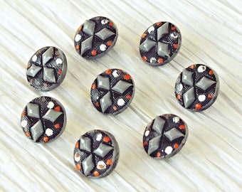 Set of 8 Hand Painted Gray Glass Antique Victorian Buttons ~ 10mm
