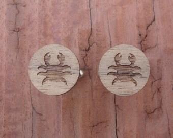 Crab Cufflinks, Walnut Wood Cufflinks, Gift Box Included