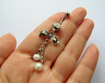 White Pearls and Bow Belly Button Ring - Stainless Steel, Rhinestone