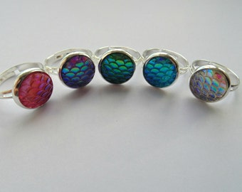 Mermaid Scale Ring - Silver plated - 12mm - Adjustable - Dragon Scale, Snake Skin, Fish scales - Two Toned