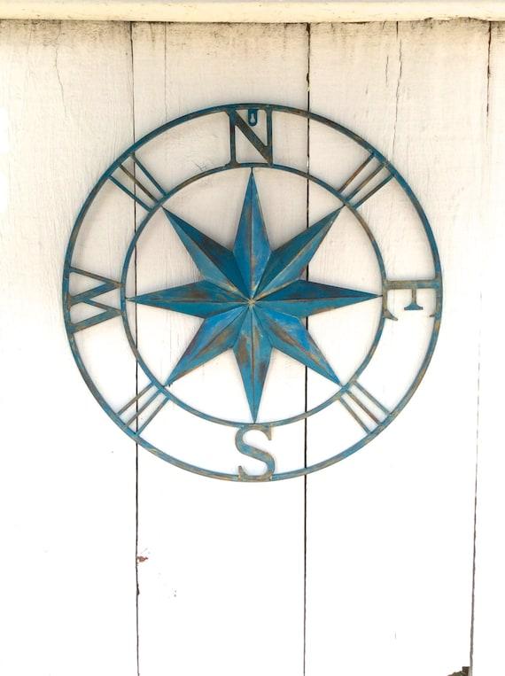 Metal Compass Metal Wall Decor Nautical Metal Wall Art