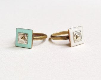 Square Ring, Geometric Ring, Pyramid Ring, White Square Ring, Turquoise Green Square Ring, White Geometric Ring, Green Geometric Ring