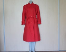 Classic Women Red Trench Coat Lining Overcoat Raincoat Classic Preppy Belted Ladies Outerwear