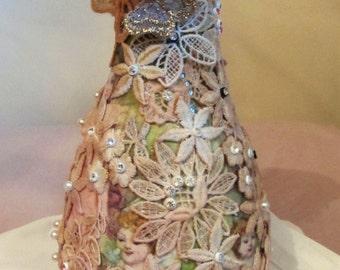 angel decoupaged vase, diamante pearl lace  vase, pewter hand painted vase, handmade Lacey angel vase, home decor, flower vase