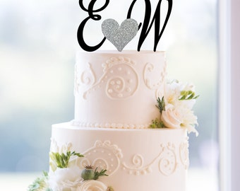 Monogram Wedding Cake Topper, Custom Two Initials and Small Heart Topper- (T174)