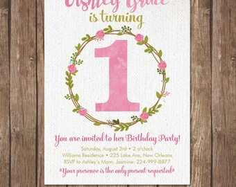 Girl FIRST BIRTHDAY INVITATION Printable Invite 1st Baby Party Turning One  DiY